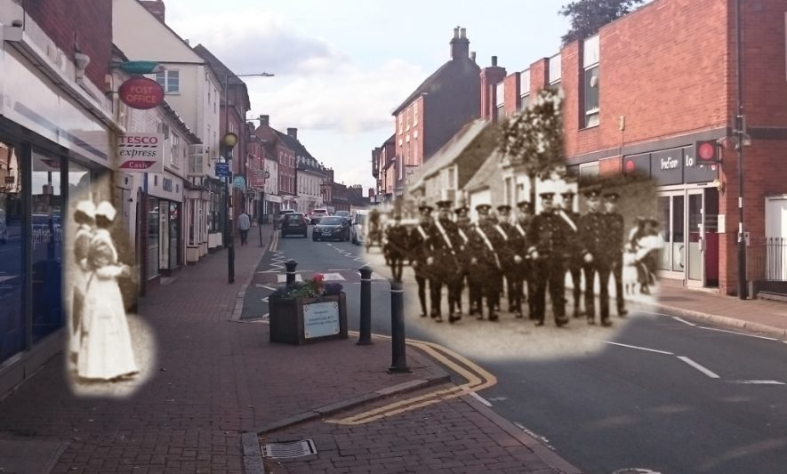 A detachment from the local VAD Hospital, Coleshill marching along the high street. Original photo courtesy of Coleshill & District Civic Society. | Image courtesy of Coleshill Remembers WW1