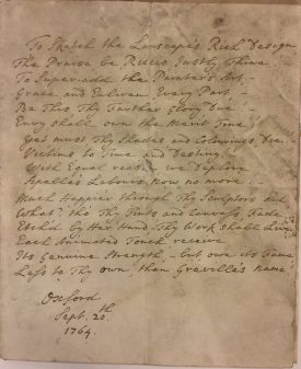 Greville Poem, dated 20 Sept 1764, Oxford. | Warwickshire County Record Office reference CR1886 Box 620 - loose