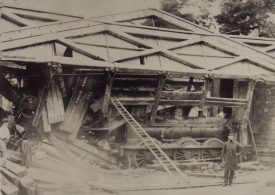 The Hill Wootton bridge collapsed. In this photo the engine tender is to the right on its end against the abutment. | Image copyright Leamington Spa Art Gallery & Museum (Warwick District Council). Warwickshire County Record Office reference PH1035/C4286