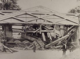 The Hill Wootton bridge collapsed. In this photo the engine tender is to the left on its end against the abutment. | Image copyright Leamington Spa Art Gallery & Museum (Warwick District Council). Warwickshire County Record Office reference PH1035/C4287