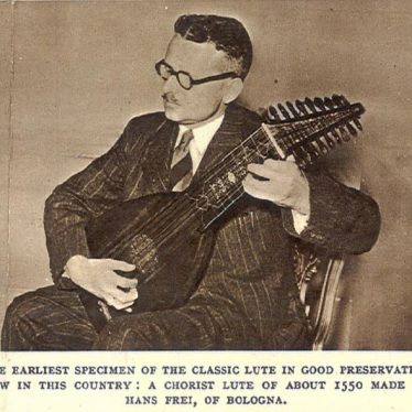 Eric Halfpenny playing the instrument c.1950. Held in a scrap book at Warwick Castle. | Image courtesy of Warwick Castle