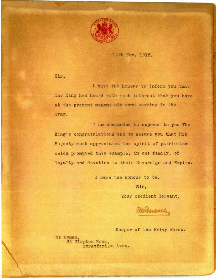 A letter from the King.   Image courtesy of Philip Coldicot