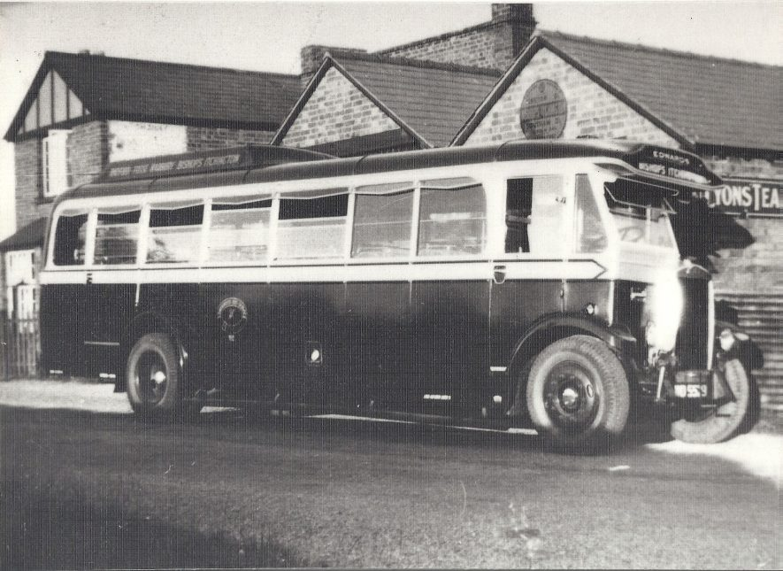 Edwards' Coaches Maudslay WD5529 outside village shop, Bishop's Itchington c 1936. | Image courtesy of Harbury Heritage