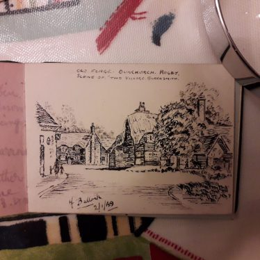 Black and white hand drawn picture of the Old Forge | George Butler's private collection: his mother's autograph book , drawn by H Bullock 2/1/1949
