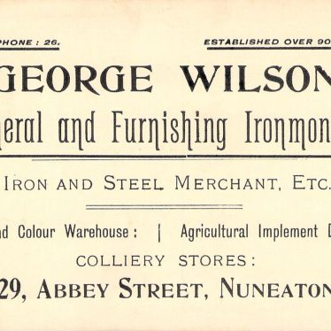 Business card of George Wilson, 129 Abbey Street Nuneaton | Image courtesy of Sheila Price and Nuneaton Memories