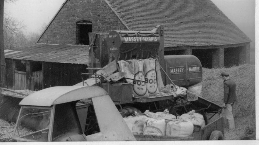 Hillcrest Farm Haymaking with Combine Harvester, c. 1950. | Image taken by Romilly Lunge, supplied by Chris Kirsten