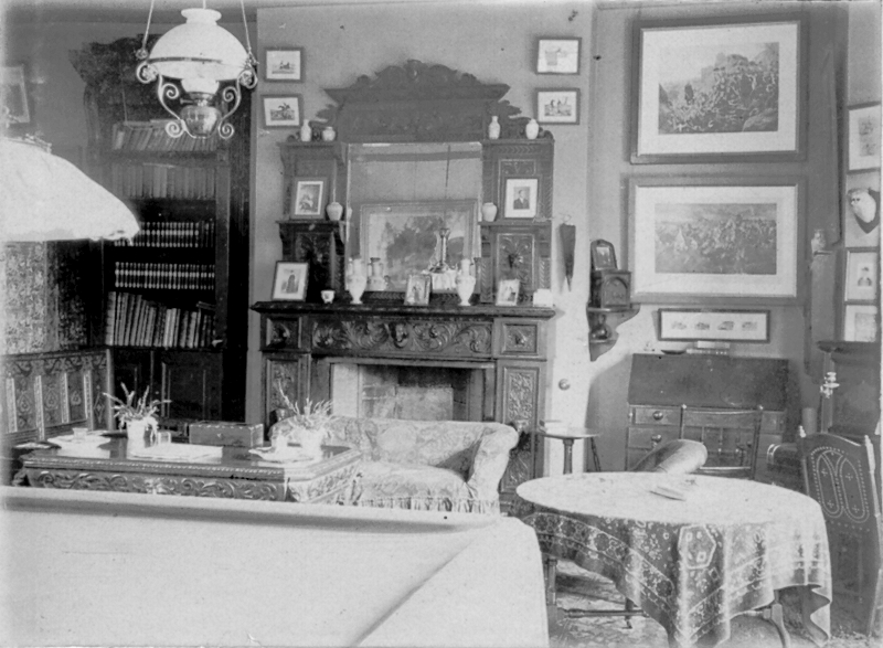 Billiard Room, Eathorpe Park.   Image courtesy of Sylvia Dibbs, from a family album. 1890-1902