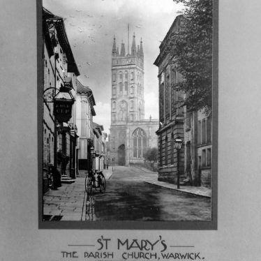 Photograph of Warwick: St Mary's Parish Church (view from Castle/Church street), Warwick postcard series, c.1900-1910 | Photographer Clare Speight, Warwickshire County Record Office reference CR4781/146