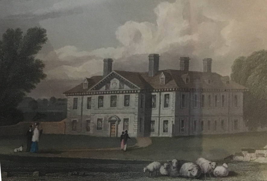 Clopton House. A framed picture which my late husband had when I met him I'm 1982. On the back it is described as a genuine hand coloured engraving, dated 1830. | Image courtesy of Lindsey Butler