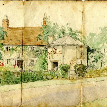 Colour watercolour of Basket Hall, a two storey grey house with brown roof with hexagonal building beside it   Family photo courtesy of Eileen Lockyer