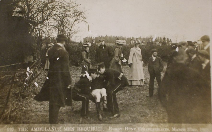 The Rugby Hunt Steeplechase, March 23rd 1905. The jockey is probably J. Phillips, who suffered concussion after a fall on Prince Tuscan. | Baxter's Photo Series, Hinckley. Warwickshire County Record Office reference PH 352/53/1