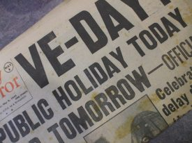 VE Day spread, Daily Mirror. | Image courtesy of Warwickshire County Council