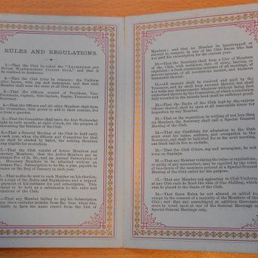 Rules and regulations for the South Warwickshire and Leamington Club.   Warwickshire County Record Office reference CR1844/11