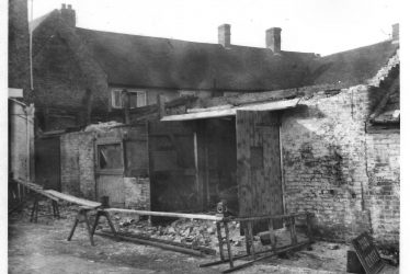 Southam. Demolishing the Garage and Coal Store at the Bull Inn