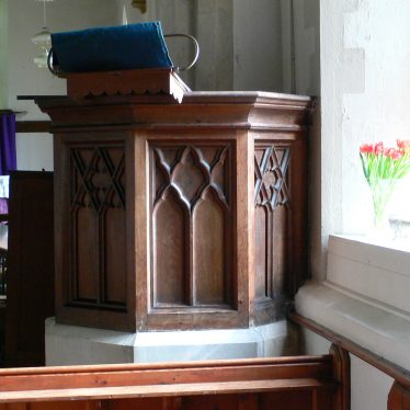 Church of St Giles, Exhall, near Alcester, - pulpit with panel decoration replicating the tracery of the north window | Chris Pickford, 2011