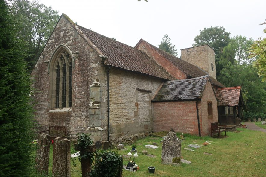 Country church with redbrick extension around porch area | Image courtesy of Gary Stocker August 2020