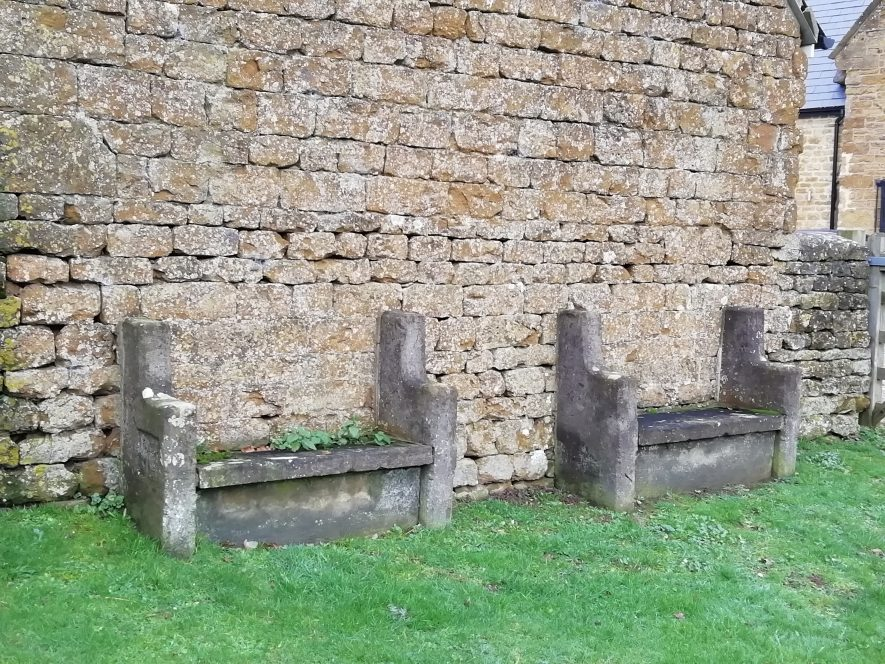 Photo of a pair of stone benches, Tysoe   Image courtesy of Gary Stocker December 2019.