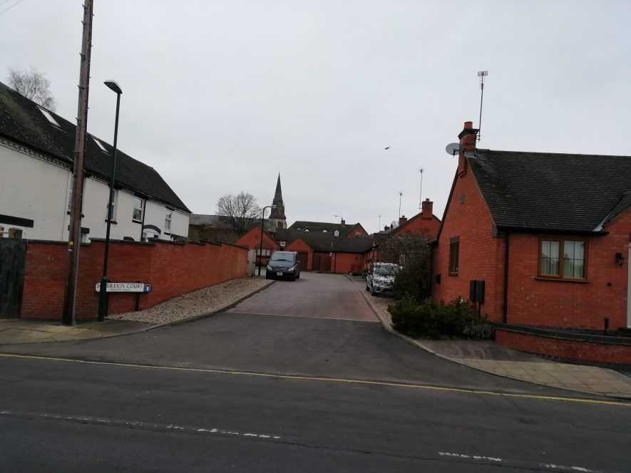T junction in Southam with houses either side | Image courtesy of Gary Stocker December 2019