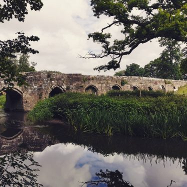 Stoneleigh Bridge in the background with many arches; grass and river in foreground | Image courtesy of Chris Morris