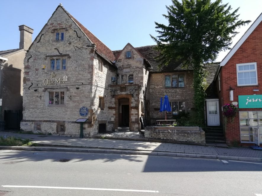 Three storey grey stone gabled building on Coventry Street Southam | Image courtesy of Gary Stocker August 2020