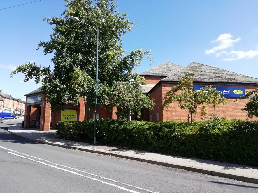 Low modern red brick building, Oxford Street, Southam | Image courtesy of Gary Stocker August 2020