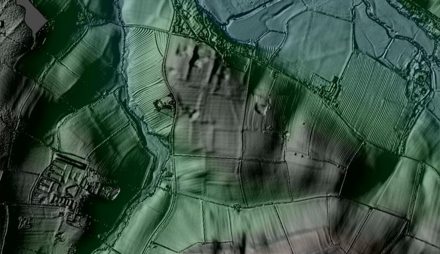 Photo of an undated linear cropmark, Wimpstone (South) | Lidar heavy processing image, ICR