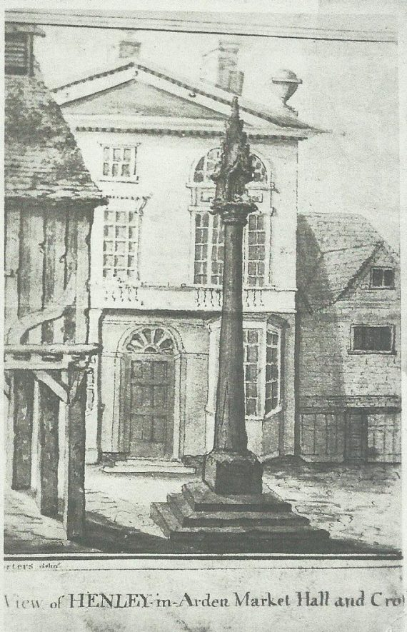Old postcard showing Henley in Arden Market Cross   Image courtesy of Gordon brinkworth