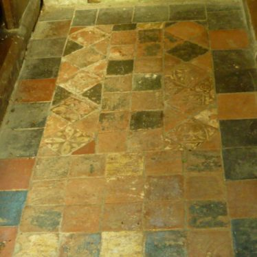 Medieval encaustic tiles. Old Church of St Mary, Ullenhall, 2018. | Image courtesy of William Arnold