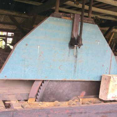 Huge circular saw (with guard) and rollers for logs to move on | Image courtesy of Anne Langley
