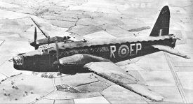A Wellington bomber in the sky. | Image originally released by the Royal Air Force, and uploaded to https://commons.wikimedia.org/wiki/File:WellingtonBomber.jpg