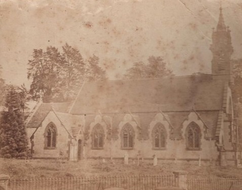Combrook church, side view, probably around an 1887 visit to Combrook. | Image supplied by John Hales