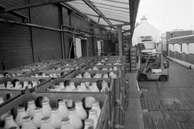 The Co-op diary yard with fork lift truck stacking crates of milk bottles | Image from Nuneaton News, supplied by Nuneaton Memories