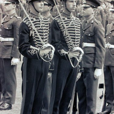 JLRRA Guard Detachment consisting of two soliders in ceremonial uniform with drawn swords | L. Barnsley Collection