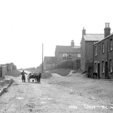 Man with pony and trap standing in road between terraced houses in Lower Street, Hillmorton. 1900s | Warwickshire County Record Office reference PH350/956