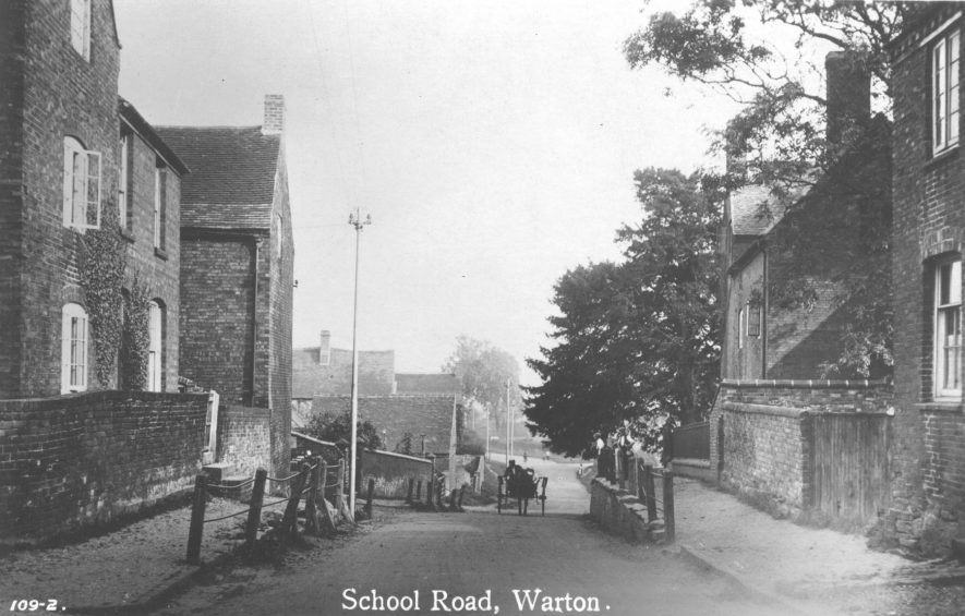 Postcard of School Road, Warton showing cottages and pony and trap in School Road, Warton, 1900s | Warwickshire County Record Office, PH 352/144/6