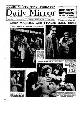 The front page of Daily Mirror announcing the Warwick-Whigham engagement. | Image courtesy of the Warwick Castle Archives