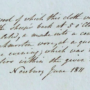 Exerpt from the journal of Bertie Greathead, 1812-1814 showing piece of cloth made for the Throckmorton Coat   Warwickshire County Record Office reference CR 1707/120