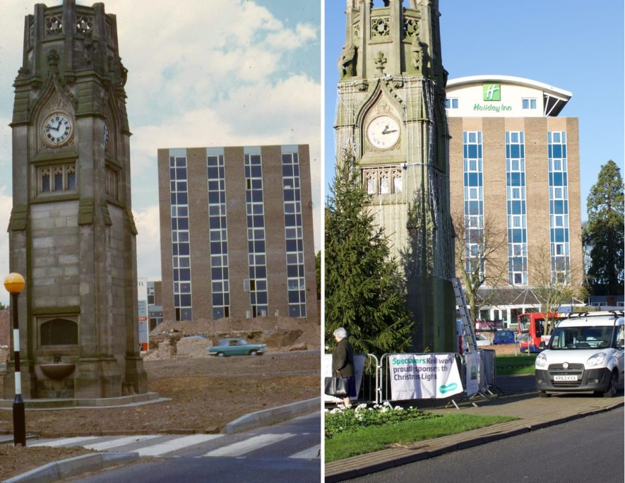 Two views of Kenilworth Clock Tower and the De Montfort (Holiday Inn) Hotel in 1967 and 2015 | Image courtesy of Kenilworth History and Archaeology Society.