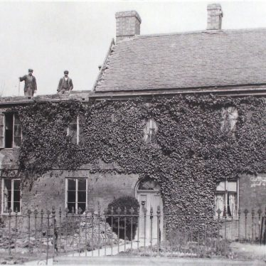 Photograph of Demolition of old cottages in Coton Road, near Chapel Street. c. 1910, copy 1966. | Warwickshire County Record Office reference PH882/3/2348