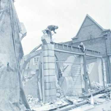 Photograph of demolition workers on front of the Billiard Hall, 1976. | Warwickshire County Record Office reference PH882/7/5265