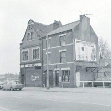 Photograph of property awaiting demolition in Abbey Street, opposite the ABC ('Ritz') cinema, 1978. | Warwickshire County Record Office reference PH882/7/5694