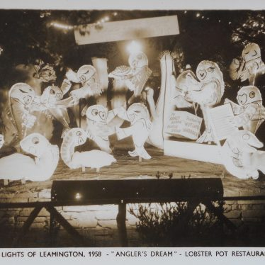 Illuminated inflatable fish in a light display. | Warwickshire County Record Office reference PH352/111/247