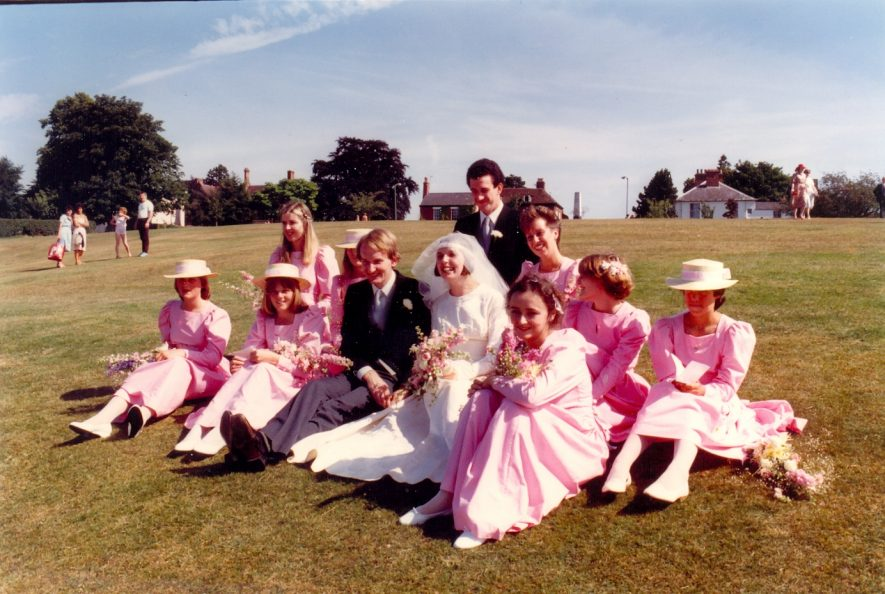 Wedding picture of Cordelia Hall and David Dawson, 16/06/1983. This photo was taken at the top of Abbey Fields in Kenilworth. | photo courtesy of Professor Hugh Gaston Hall