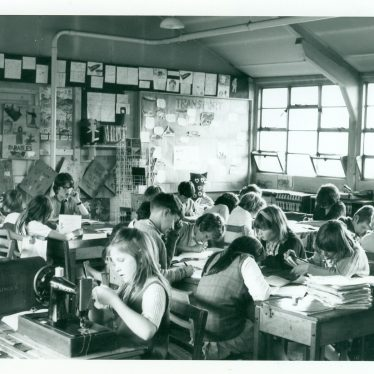 The classroom interior of St Emmanuela's school in Nuneaton. | Image courtesy of John Kelly, and donated to Nuneaton Library