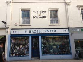 F. Hazell Smith, Gentleman's Outfitters, remains the same as other shops go or change. | Image courtesy of Celia Rees