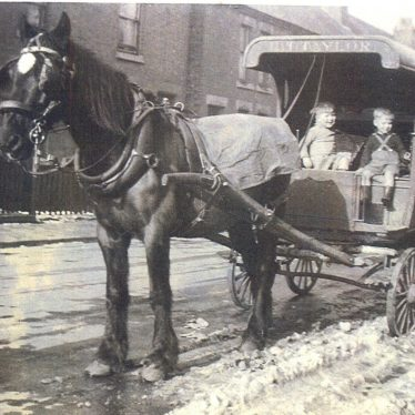 Van with horse in Gadsby Street, Attleborough, home of Cliff Oliver, Baker with two of his sons | Courtesy of June Moreton