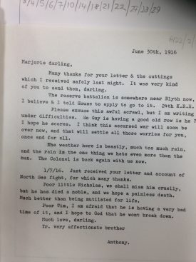 Transcript of Letter from Anthony Eden to Lady Brooke, 30 June 1916. | Transcript of the Original Letter from CR1886/737/5, held in the Birmingham University Archives