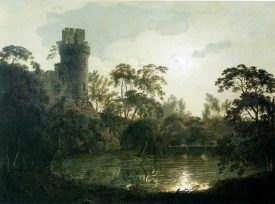 Joseph Wright of Derby. Moonlight with a Lake and Castellated Tower. 1787. Oil on canvas. 58 x 76.2. Private collection. | Image originally uploaded to wikimedia commons.