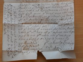 The second half of Penelope's letter. She covers the whole sheet of paper with small post-scripts. | Warwickshire County Record Office, reference CR4563/2.