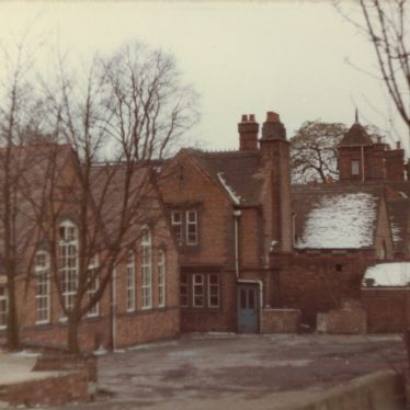 Vicarage Church School from 'the Hill'. Infants' classroom and playground, Junior School classrooms. | Image courtesy of Dennis Hodgetts